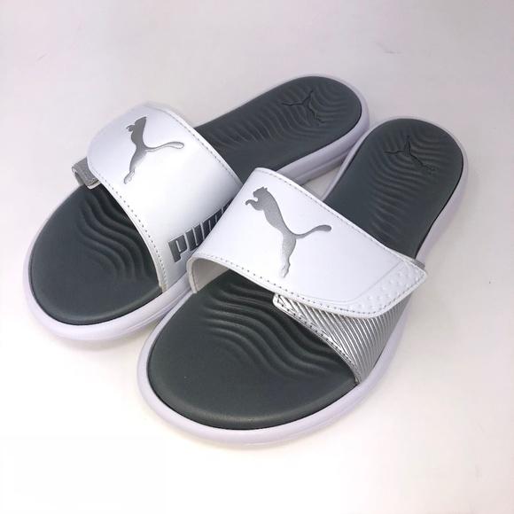 0b14290b3063 Puma Surfcat Slide Slip-on Sandals White Silver. M 5bfcda7712cd4a1928ffe41a